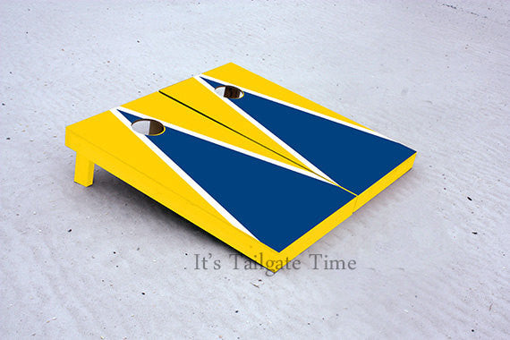 Custom Cornhole Boards Yellow and Blue Matching Triangle with 1x4 frames