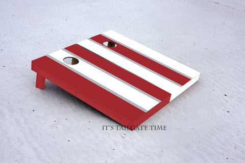 Custom Cornhole Boards White and Crimson Alternating Long Stripe with 1x4 frames