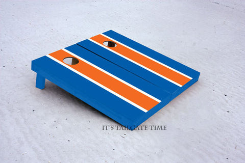 Custom Cornhole Boards Blue and Orange Matching Long Stripe