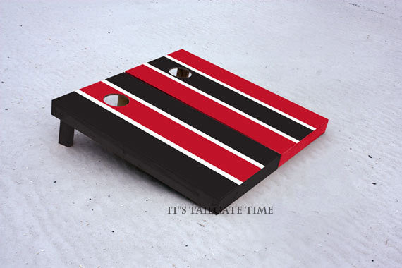 Custom Cornhole Boards Red and Black Alternating Long Stripe