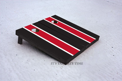 Custom Cornhole Boards Red and Black Matching Long Stripe with 1x4 frames