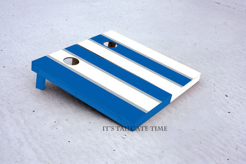 Custom Cornhole Boards White and Blue Alternating Long Stripe