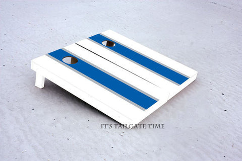 Custom Cornhole Boards White and Blue Matching Long Stripe