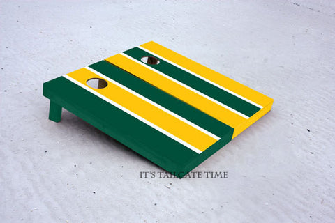 Custom Cornhole Boards Green and Yellow Alternating Long Stripe