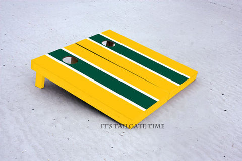 Custom Cornhole Boards Green and Yellow Matching Long Stripe