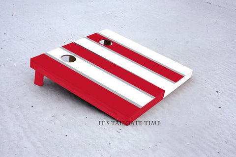 Custom Cornhole Boards Red and White Alternating Long Stripe