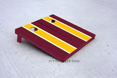 Burgandy and Yellow Matching Long Stripe Custom Cornhole Boards with 8 cornhole bags