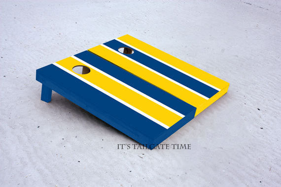 Custom Cornhole Boards Blue and Gold Alternating Long Stripe with 1x4 frames