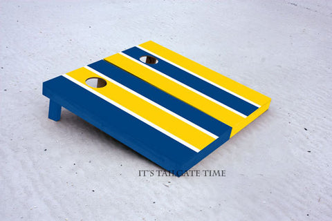 Blue and Yellow Alternating Long Stripe Custom Cornhole Boards with 8 cornhole bags