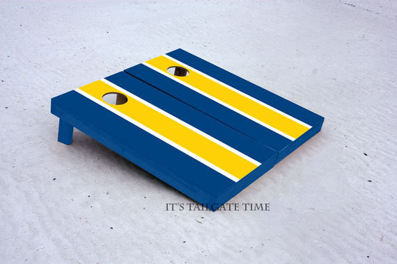 Blue and Gold Matching Long Stripe Custom Cornhole Boards with 8 cornhole bags