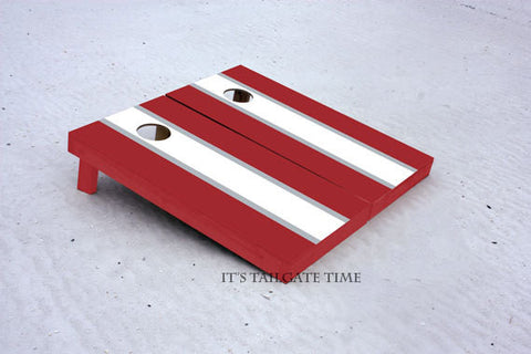 White and Crimson Matching Long Stripe Custom Cornhole Boards with 1x4 frames