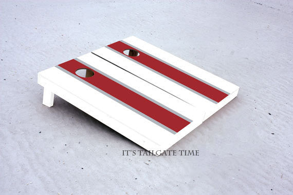White and Crimson Matching Long Stripe Custom Cornhole Boards with 8 cornhole bags
