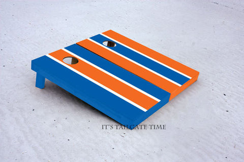 Blue and Orange Alternating Long Stripe Custom Cornhole Boards with 8 cornhole bags