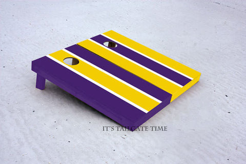 Custom Cornhole Boards Yellow and Purple Alternating Long Stripe