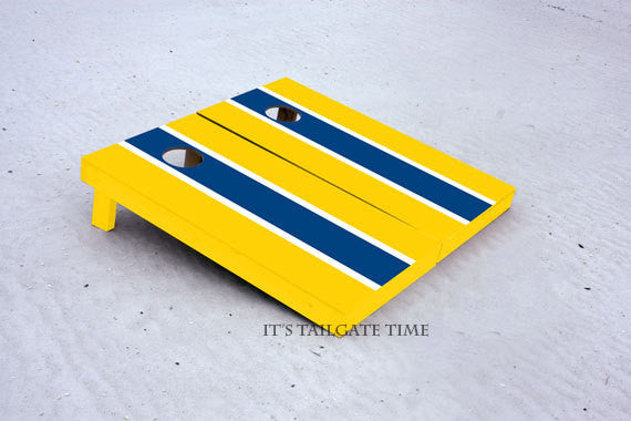 Custom Cornhole Boards Blue and Gold Matching Long Stripe