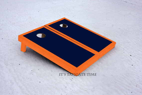 Custom Cornhole Boards Navy and Orange Border Set