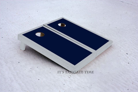 Custom Cornhole Boards Navy and Grey Border Set