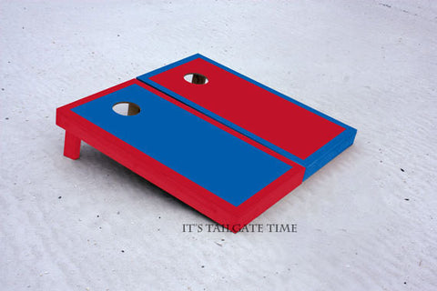 Custom Cornhole Boards Royal Blue and Red Border Set