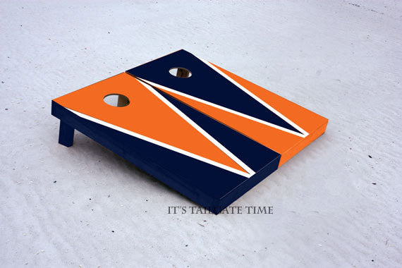 Custom Cornhole Boards Orange and Navy Flying-V