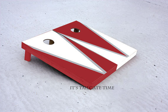 White and Crimson Flying-V Design. Custom Cornhole Boards with 1x4 frames