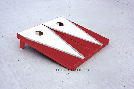 Custom Cornhole Boards White and Crimson Flying-V with 1x4 frames
