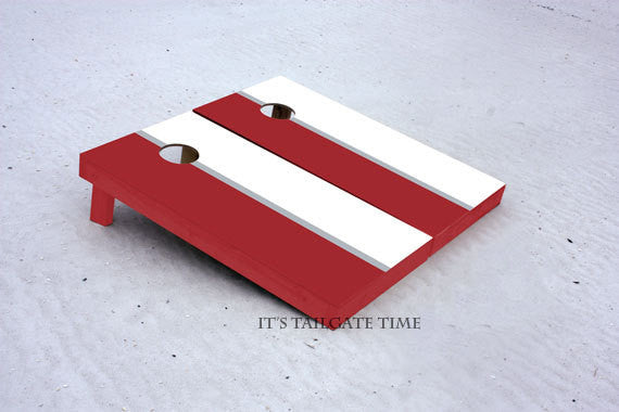 Custom Cornhole Boards White and Crimson House Divided with 1x4 frames