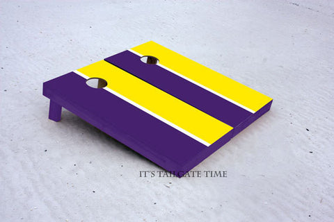 Custom Cornhole Boards Gold and Purple House Divided