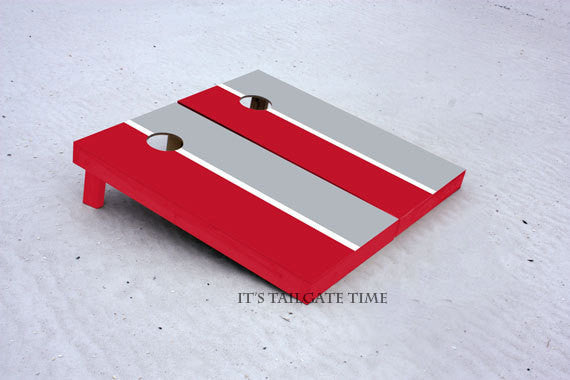 Custom Cornhole Boards Red and Grey House Divided