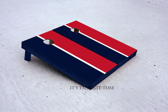 Custom Cornhole Boards Red and Navy House Divided