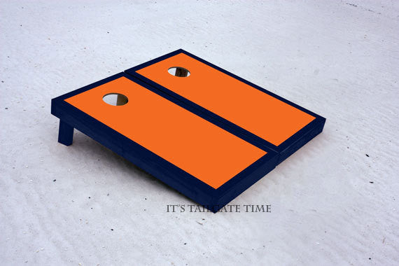 Custom Cornhole Boards Orange and Navy Border Set