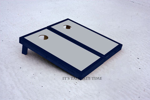 Grey and Navy Border Set Custom Cornhole Boards with 8 cornhole bags