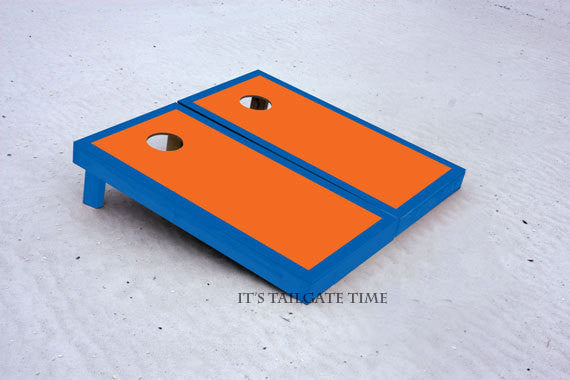 Custom Cornhole Boards Orange and Blue Border Set