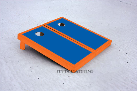 Custom Cornhole Boards Blue and Orange Border Set