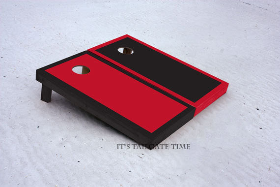 Black and Red Border Custom Cornhole Boards with 8 cornhole bags