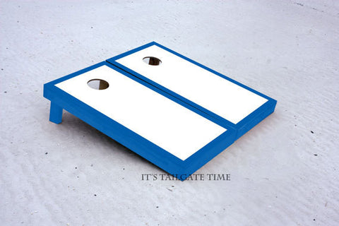 Blue and White Border Set Custom Cornhole Boards with 8 cornhole bags