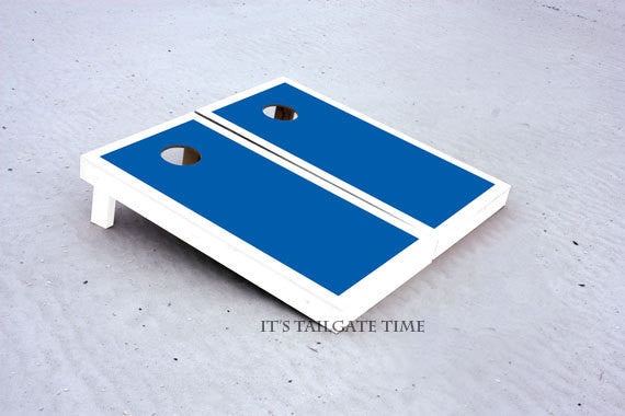 Custom Cornhole Boards Blue and White Border Set with 1x4 frames