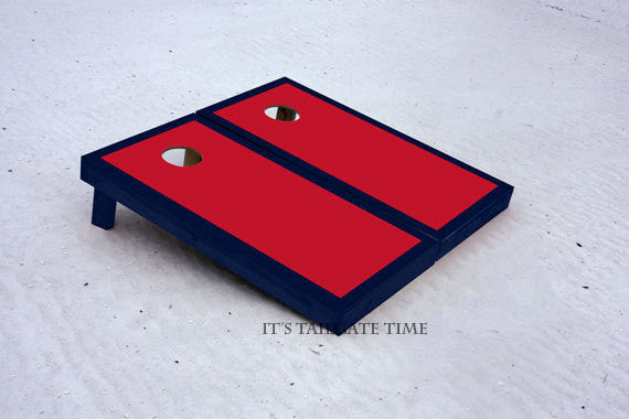 Red and Navy Border Custom Cornhole Boards with 8 cornhole bags