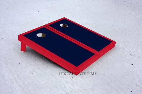 Navy and Red Custom Cornhole Border Set with 8 Cornhole Bags.