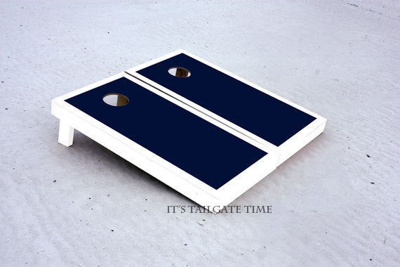 Custom Cornhole Boards White and Navy Border Set with 1x4 frames