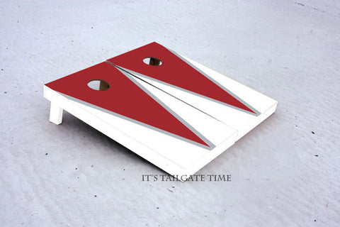 Custom Cornhole Boards White and Crimson Flying-V