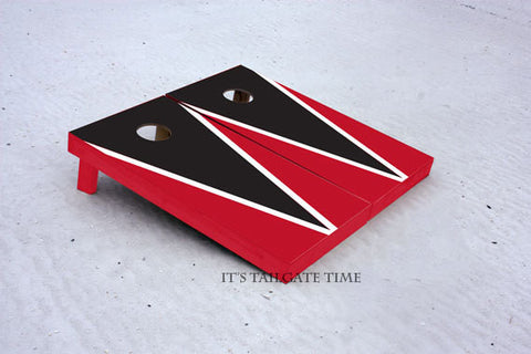 Custom Cornhole Boards Black and Red Flying-V with 1x4 frames