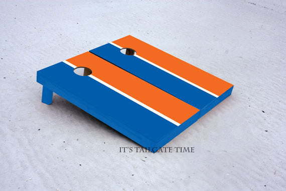 Custom Cornhole Boards Orange and Blue House Divided with 1x4 frames