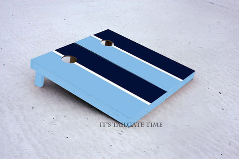 Custom Cornhole Boards Navy and Light Blue House Divided with 1x4 frames