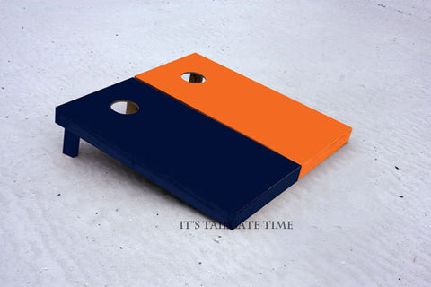 Custom Cornhole Boards Orange and Navy Solid Set with 1x4 frames