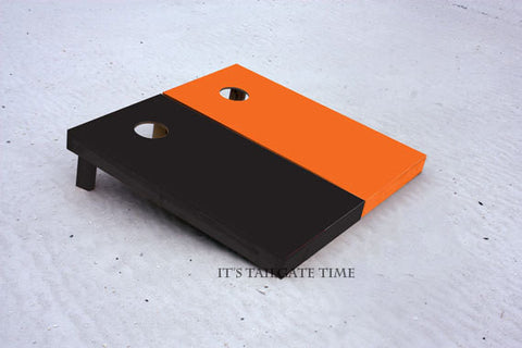 Custom Cornhole Boards Orange and Black Solid Set with 1x4 frames