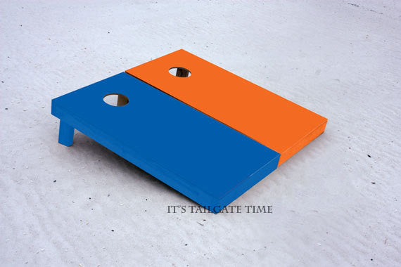 Custom Cornhole Boards Orange and Blue Solid Set
