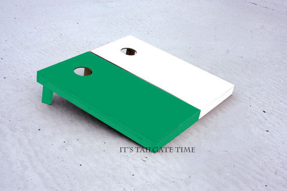 Custom Cornhole Boards Green and White Solid Set with 1x4 frames