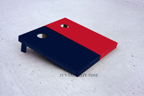 Custom Cornhole Boards Red and Navy Solid Set