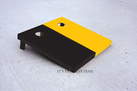 Custom Cornhole Boards Black and Yellow Solid Set