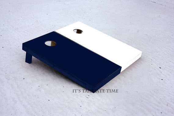 Custom Cornhole Boards Navy and White Solid Set
